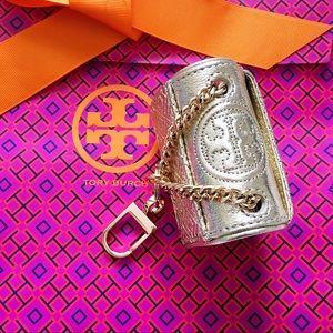 Tory Burch Fleming Metallic Mini Key Fob SparkGold